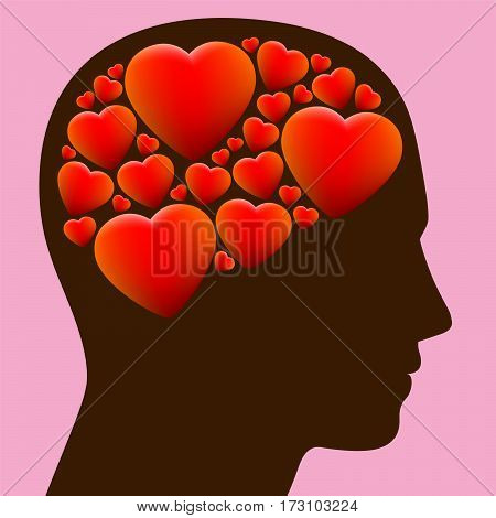 Lovestruck - head full with hearts instead of brain - illustration on rosy background.