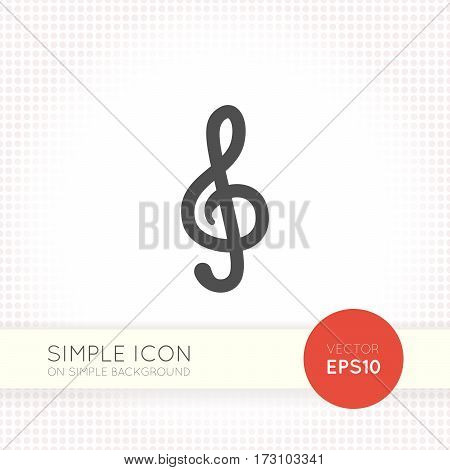 Simple treble clef vector icon isolated on simple light background. Musical symbol and element of design for playbill, web site about music, logo for music shop