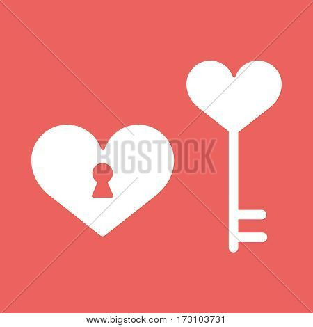 heart, lock Happy Valentine day icon in flat minimalistic style illustration EPS10