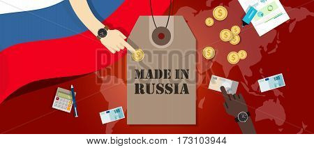 Made in Russia price tag illustration badge export patriotic business transaction vector