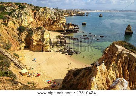 Scenic Beach At Lagos, Portugal
