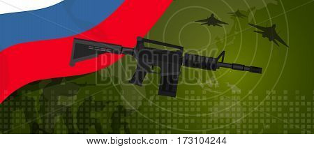 Russia military power army defense industry war and fight country national celebration with gun soldier jet fighter and radar vector