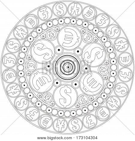 Mandala to attract money.  Mandala to color. Coloring page for adults.