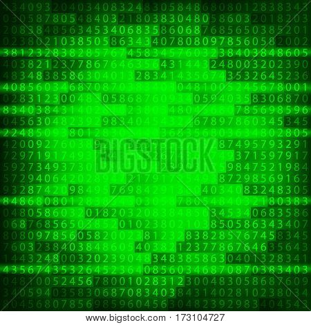 Green binary computer code repeating vector background