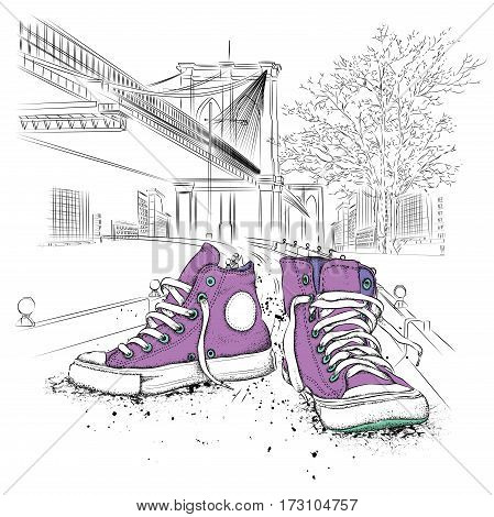 Hand drawn sneakers on background. Run Concept. New York hand drawn vector illustration