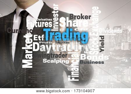 Trading Wordcloud Touchscreen Is Shown By Businessman