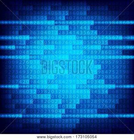 Blue binary computer code repeating vector background