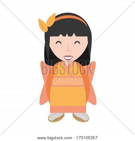 smiling geisha kimono diadem vector illustration eps 10