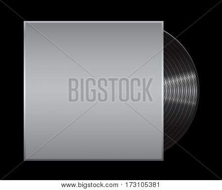 Vinyl record on black background . Vintage record .