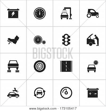 Set Of 16 Editable Transport Icons. Includes Symbols Such As Accumulator, Automotive Fix, Auto Repair And More. Can Be Used For Web, Mobile, UI And Infographic Design.