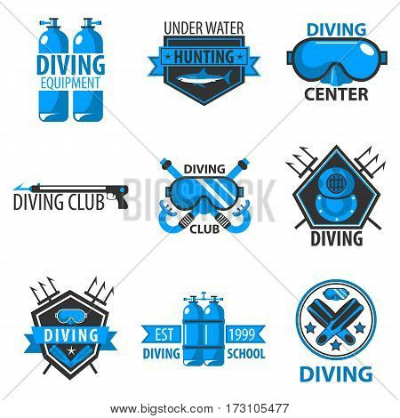 Diving center or underwater fish hunting club logo templates. Vector symbols of scuba mask, oxygen equipment and flippers. Icons of shark and trident or harpoon