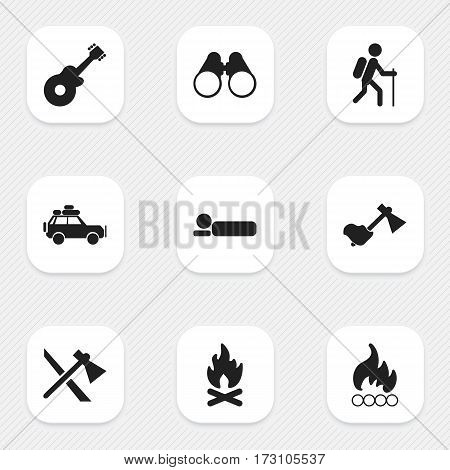 Set Of 9 Editable Trip Icons. Includes Symbols Such As Bedroll, Gait, Musical Instrument And More. Can Be Used For Web, Mobile, UI And Infographic Design.