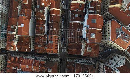 Top View of Lisbon Baixa, Portugal