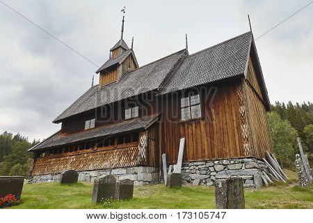Norwegian stave church. Eidsborg. Historic building. Norway tourism highlight. Horizontal