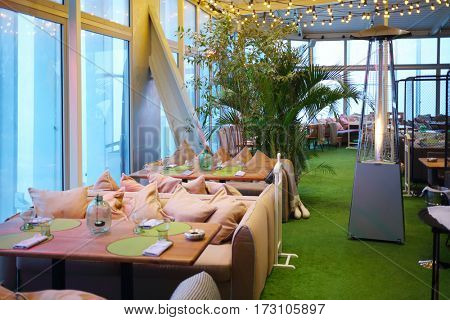 MOSCOW - OCT 20, 2016: Interior of restaurant on top of Eye tower in Moscow City business complex, Restaurant 354 occupies three floors in Oko tower in Moscow-City