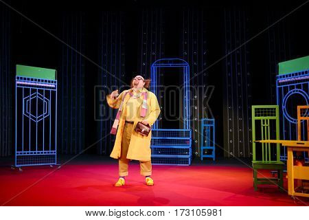MOSCOW - OCT 19, 2016: Funny actor during Premium class Performance in Modern theater