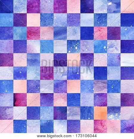 Watercolor colorful starry space galaxy nebula seamless patten background