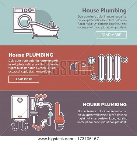 House plumbing and plumber fixture web banners templates. Vector bathroom and heating system illustration