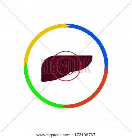 Vector illustration. The emblem logo. The liver is under the gun. Outline circle of four colors. Different colors
