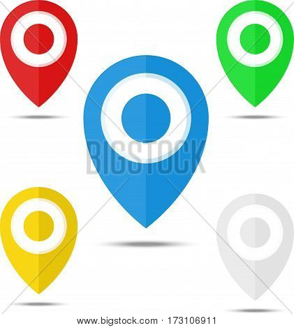 Set Of Map Markers, Map Pins, Pointer Elements. 5 Colors, Orange, Blue, Green, Red, White. Location,