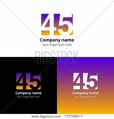 45 logo icon flat and vector design template. Monogram years numbers four and five. Logotype forty-five with violet-yellow gradient color. Creative vision concept logo, elements, sign, symbol for card