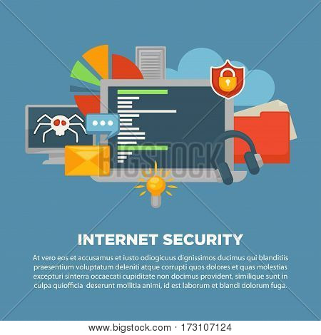 Internet security and computer malware or digital protection vector poster. Personal data protection software concept