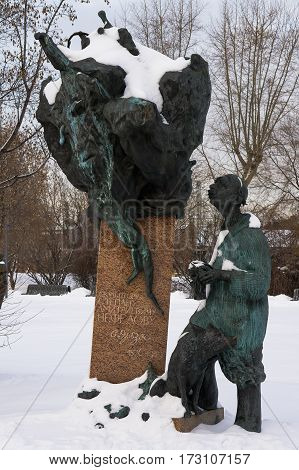 Moscow, Russia - January 17, 2017: A monument to the Russian artist and sculptor Stepan Erzya in arts Muzeon park in Moscow