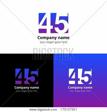 45 logo icon flat and vector design template. Monogram years numbers four and five. Logotype forty-five with violet-pink gradient color. Creative vision concept logo, elements, sign, symbol for card,