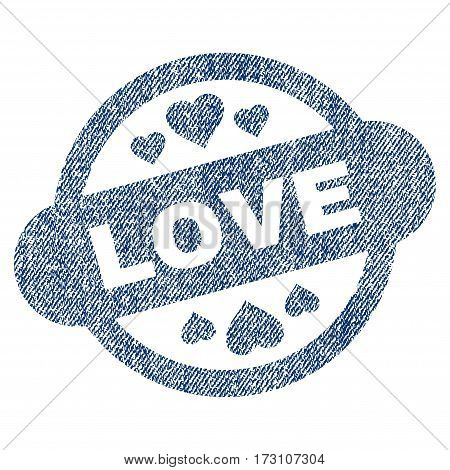 Love Stamp Seal vector textured icon for overlay watermark stamps. Blue jeans fabric vectorized texture. Symbol with dust design. Blue ink rubber seal stamp with fiber textile structure.