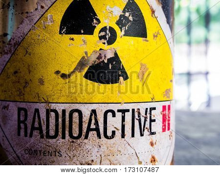 Old Cylinder shape container of Radioactive material