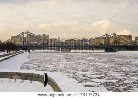 Crimean bridge in the park Muzeon Arts in Moscow in winter