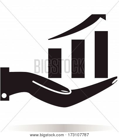 chart icon with hand on white background. chart icon with hand sign.