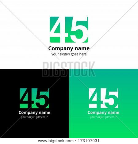 45 logo icon flat and vector design template. Monogram years numbers four and five. Logotype forty-five with light green gradient color. Creative vision concept logo, elements, sign, symbol for card,