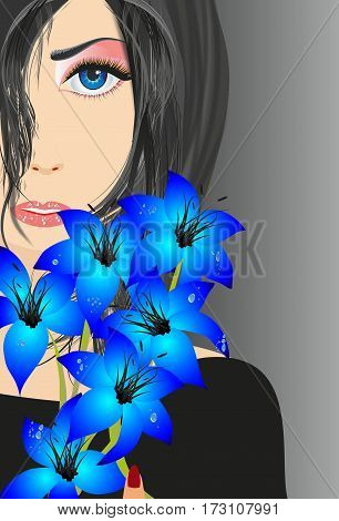 Composition with blue flowers and woman's face