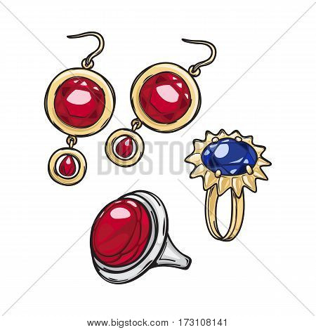 Jewelry for women. Gold earrings with red stone. Elegant earrings. Silver ring with round red rock. Gold ring with blue stone. Luxury decoration. Glamour. Cartoon style. Flat design. Vector.