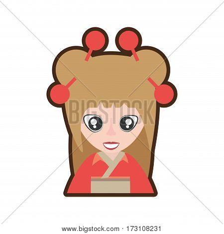 cartoon portrait woman asian clothes vector illustration eps 10