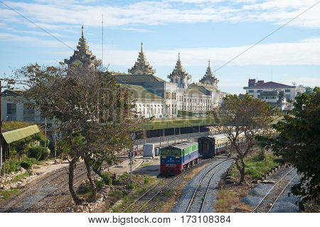YANGON, MYANMAR - DECEMBER 17, 2016: The view to the Central railway station of Yangon