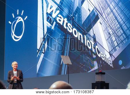 MUNICH GERMANY - FEBRUARY 16 2017: IBM Watson IoT General Manager Harriet Green delivers an address to IBM Genius of Things Summit in Munich Germany on February 16 2017.