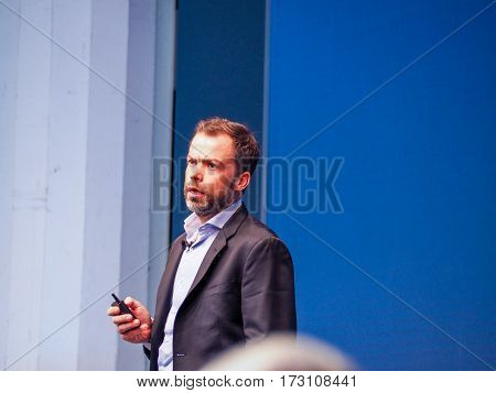 MUNICH GERMANY - FEBRUARY 16 2017: SNCF Chief Technology Officer Raphael Viard delivers an address to IBM Genius of Things Summit in Munich Germany on February 16 2017.