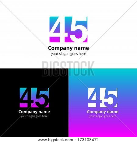 45 logo icon flat and vector design template. Monogram years numbers four and five. Logotype forty-five with green-pink gradient color. Creative vision concept logo, elements, sign, symbol for card,