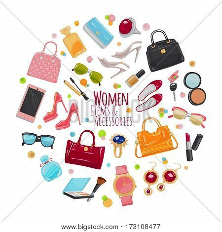 Patch of fashion accessories. Woman items and accessories. Collection of bags, shoes, high heels, sun glasses, phones, car keys, watch and cosmetics in circle. Cartoon style. Flat design. Vector