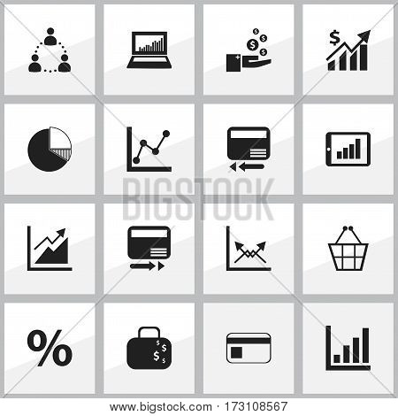 Set Of 16 Editable Statistic Icons. Includes Symbols Such As Revenue, Equalizer Display, Credit Card And More. Can Be Used For Web, Mobile, UI And Infographic Design.