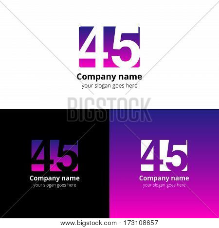 45 logo icon flat and vector design template. Monogram years numbers four and five. Logotype forty-five with purple-pink gradient color. Creative vision concept logo, elements, sign, symbol for card,