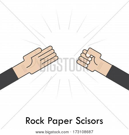 Rock Paper Scisors for it sign.Hand of businessmans with Rock Paper Scissor hand game. How to play arm gestures. Vector illustration