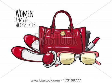 Women items and accessories. Illustration of red purse, lipstick, high-heeled shoes, sunglasses, ring with round precious ruddy stone. Fashionable female objects. Poster. Cartoon style. Vector