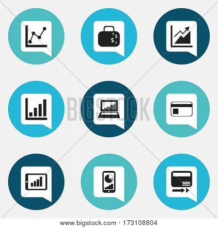 Set Of 9 Editable Analytics Icons. Includes Symbols Such As Cash Briefcase, Progress, Bar Chart And More. Can Be Used For Web, Mobile, UI And Infographic Design.