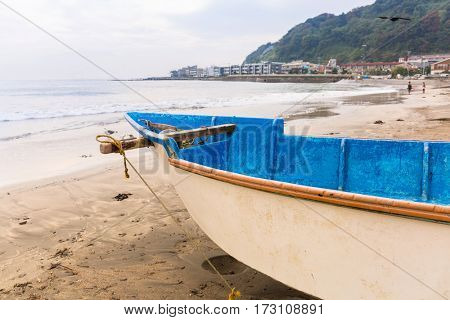 Fishing boat on the coast of Pacific ocean in Kamakura, Japan