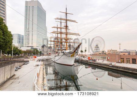 Cityscape of Yokohama with sailing ship at Minato mirai district, Japan