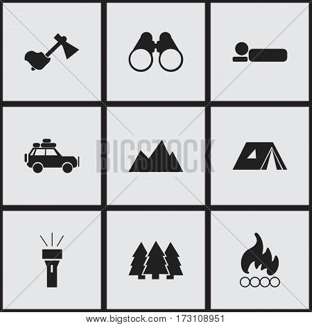Set Of 9 Editable Camping Icons. Includes Symbols Such As Lantern, Peak, Blaze And More. Can Be Used For Web, Mobile, UI And Infographic Design.