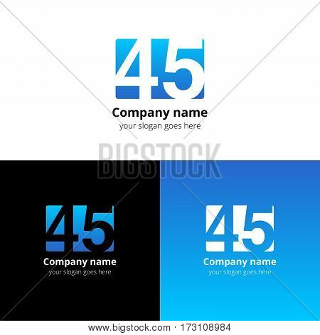45 logo icon flat and vector design template. Monogram years numbers four and five. Logotype forty-five with light blue gradient color. Creative vision concept logo, elements, sign, symbol for card,
